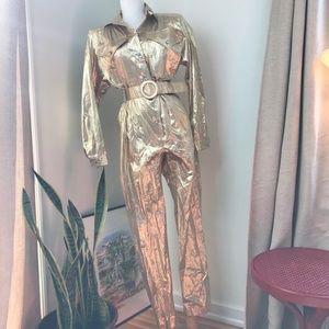 Vintage Gold Metallic Belted Jumpsuit